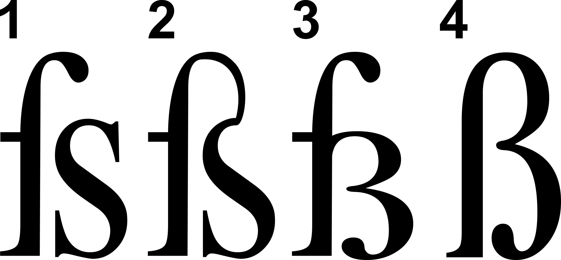 Four forms of Antiqua Eszett: 1. ſs, 2. ſs ligature, 3. ſz ligature, 4. Sulzbacher Form