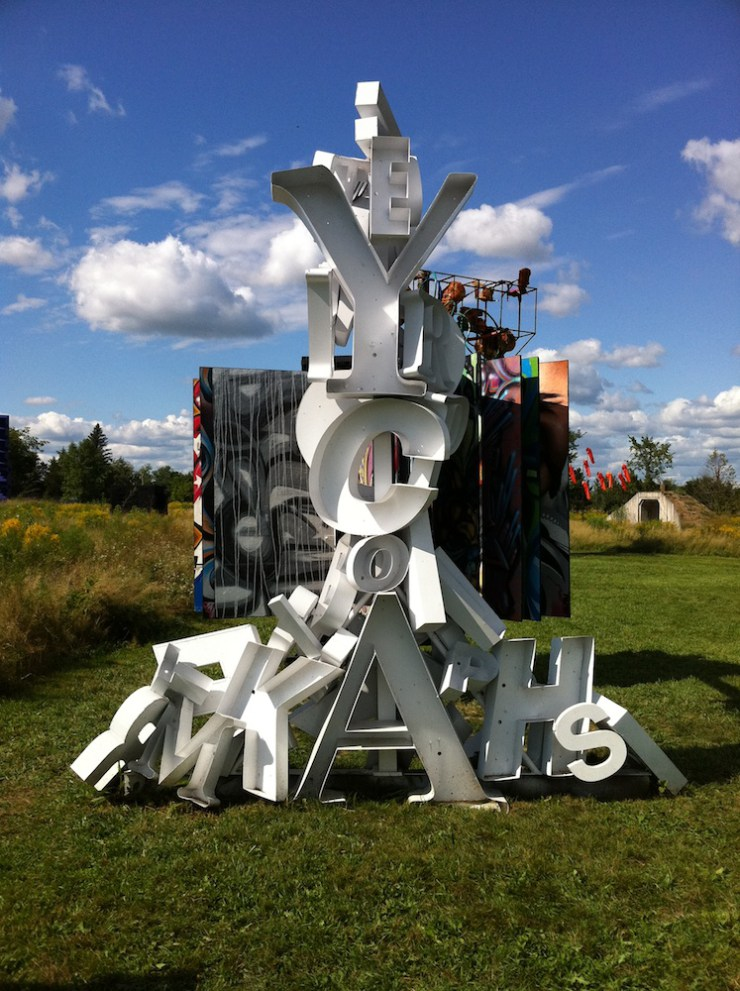 "Saw this sculpture by an artist named ""Peyton"" at the Franconia Sculpture Park, Franconia, Minnesota, back in August 2011."
