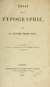 Essai sur la typographie by Ambroise Firmin-Didot