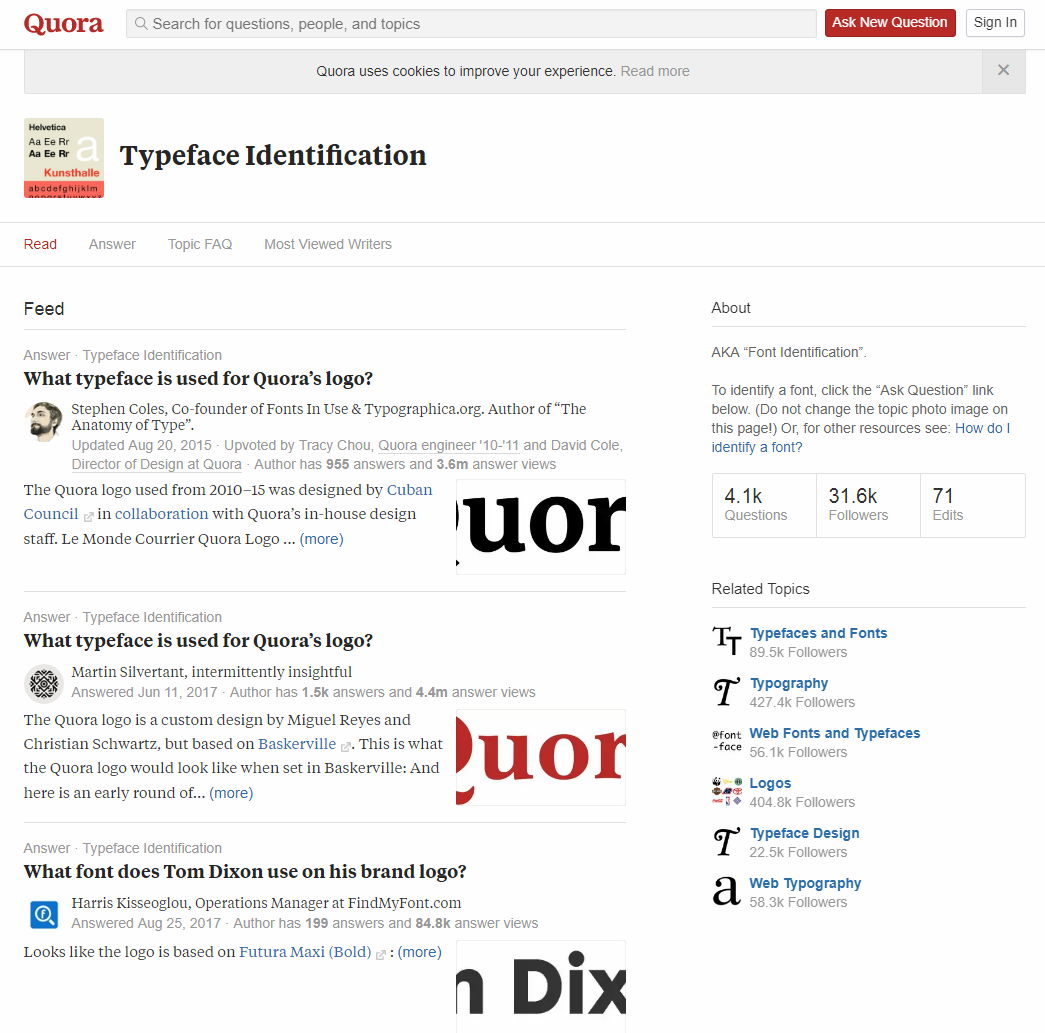 Quora Typeface Identification