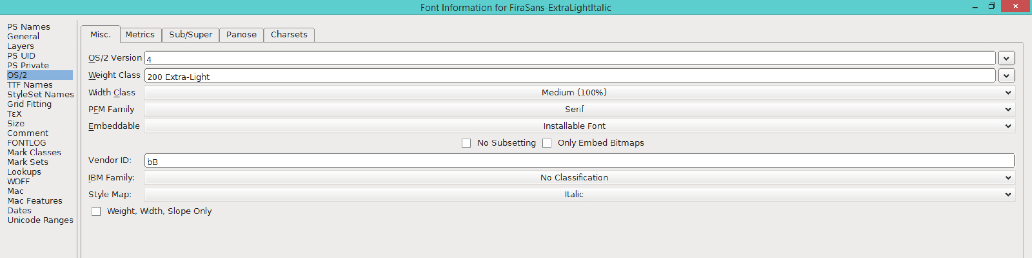 Fira Sans ExtraLight Italic (OS/2)