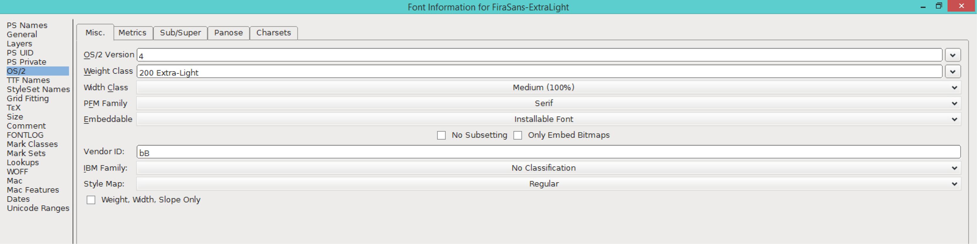 Fira Sans ExtraLight (OS/2)