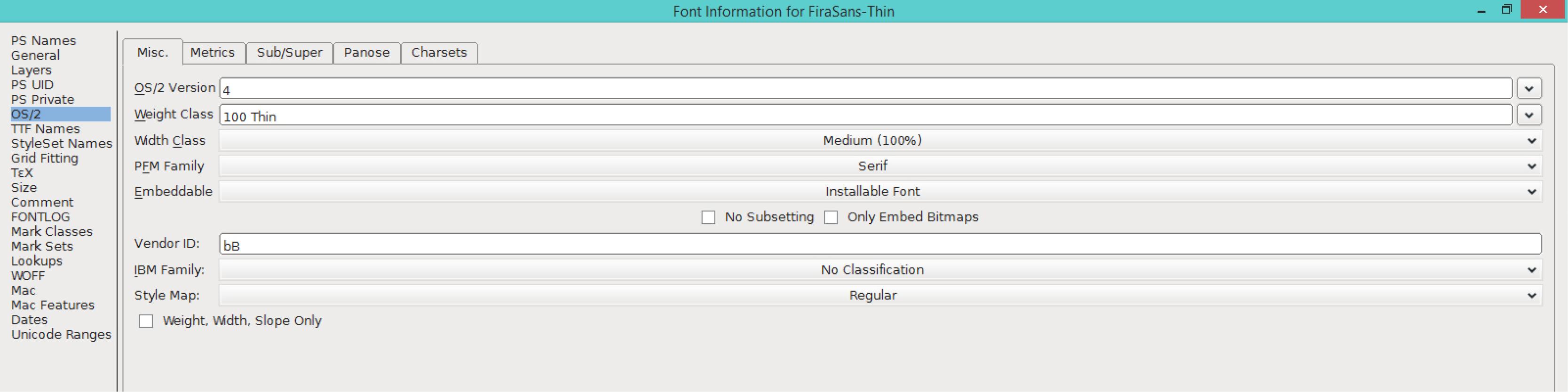 Fira Sans Thin (OS/2)
