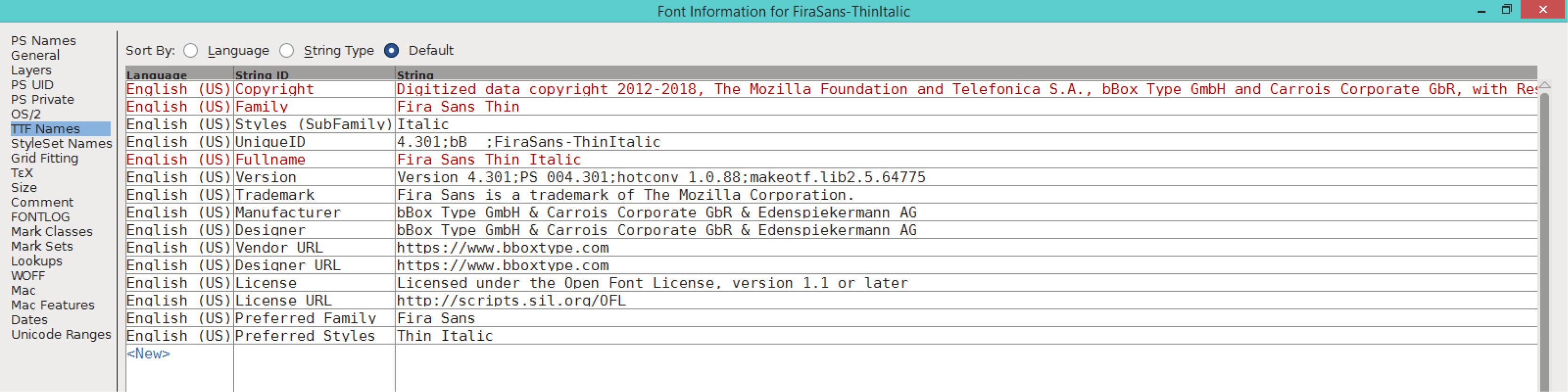 Fira Sans Thin Italic (TTF)