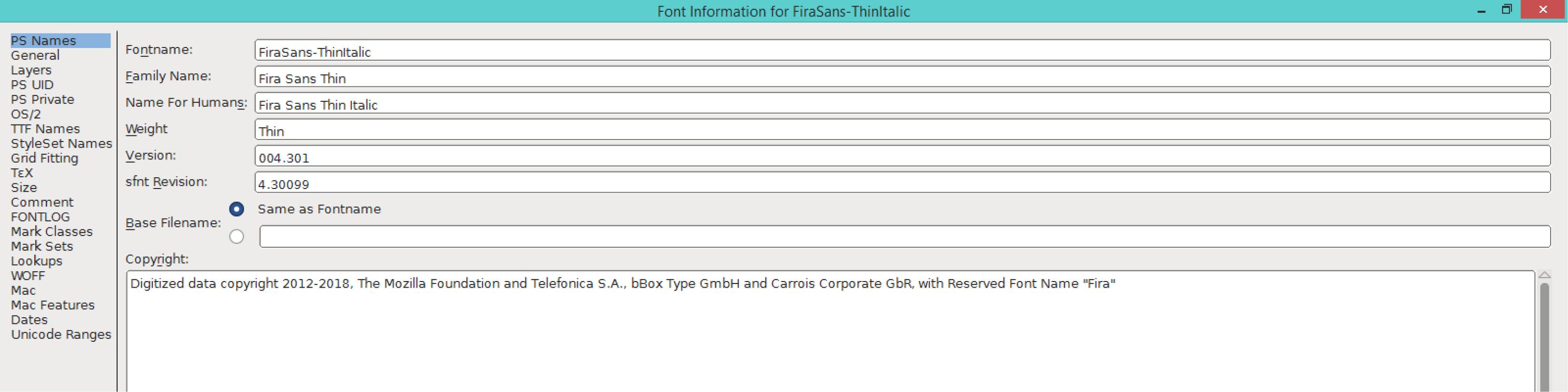 Fira Sans Thin Italic (PS)