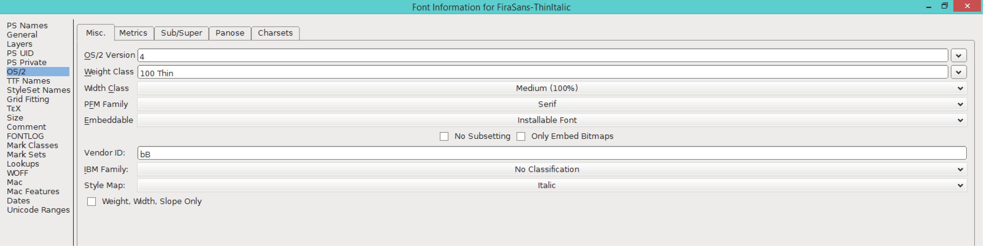 Fira Sans Thin Italic (OS/2)