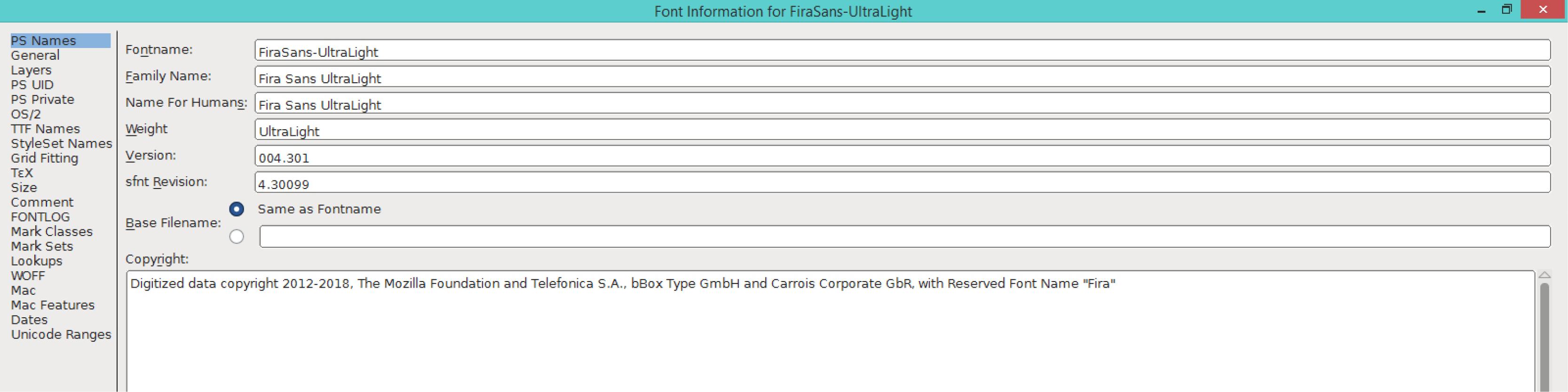 Fira Sans UltraLight (PS)