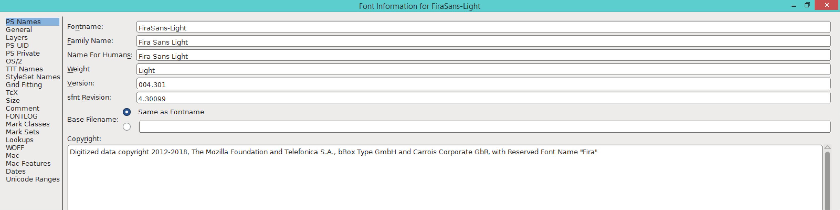 Fira Sans Light (PS)