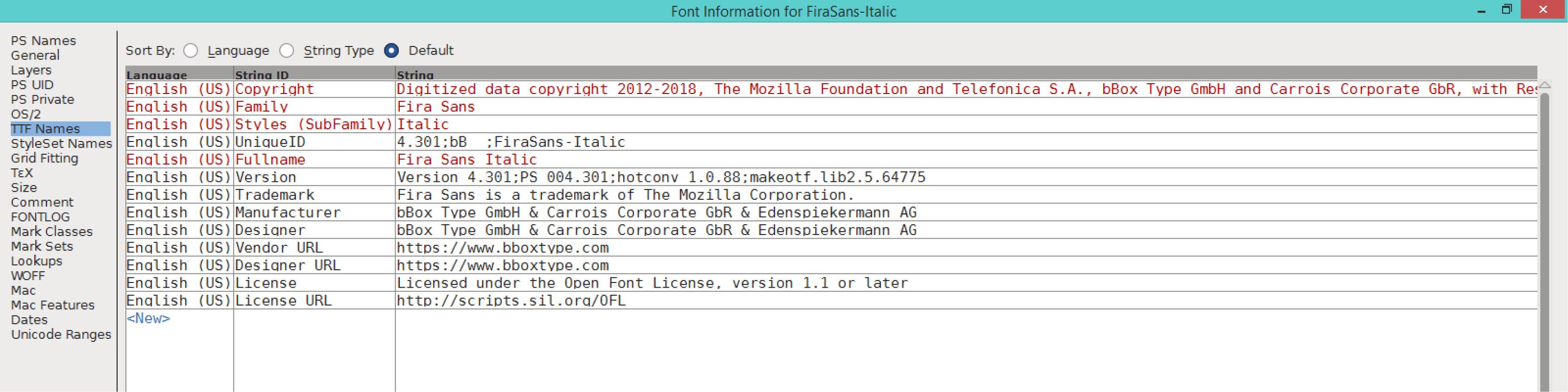 Fira Sans Italic (TTF)