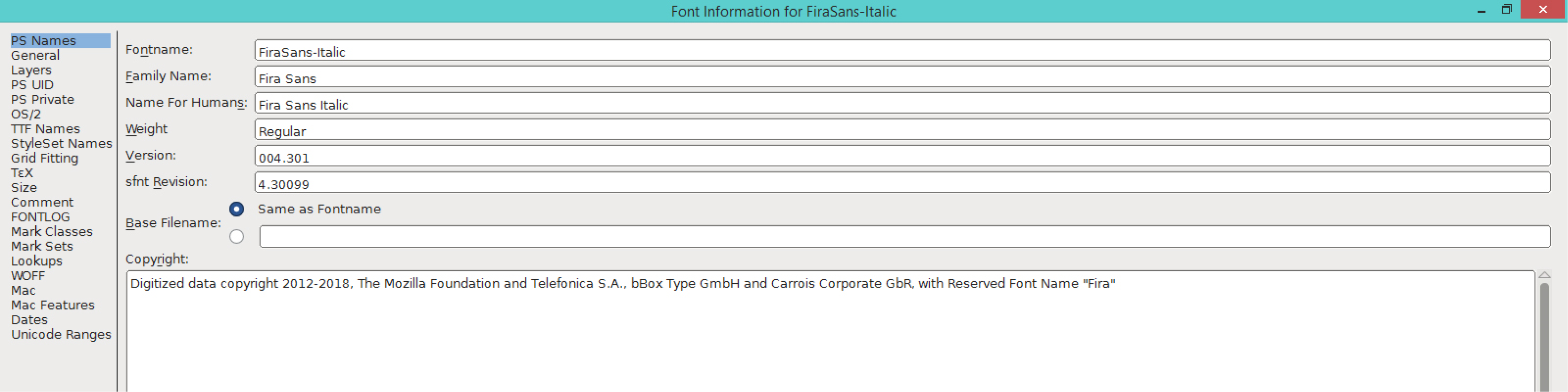 Fira Sans Italic (PS)