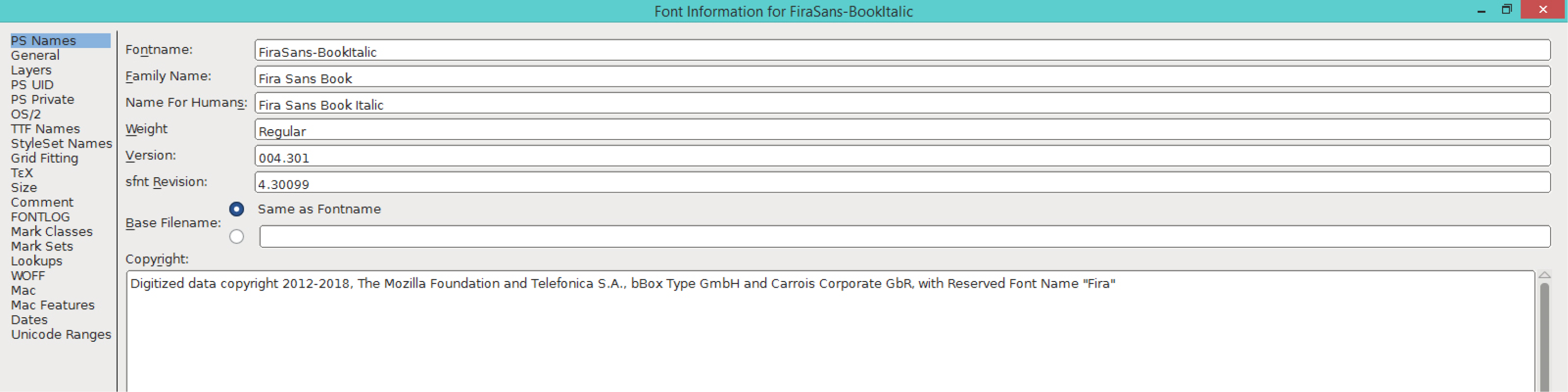 Fira Sans Book Italic (PS)