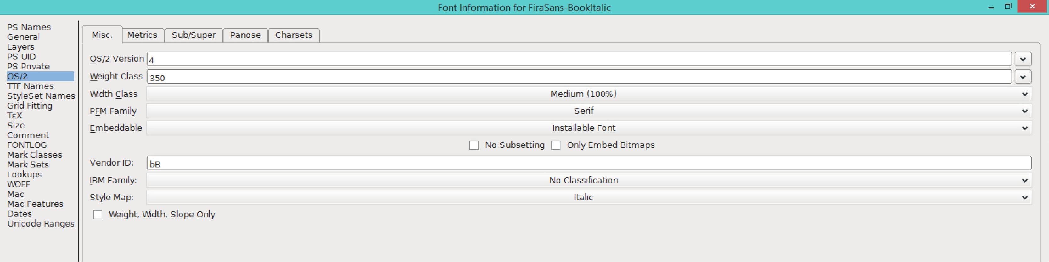 Fira Sans Book Italic (OS/2)
