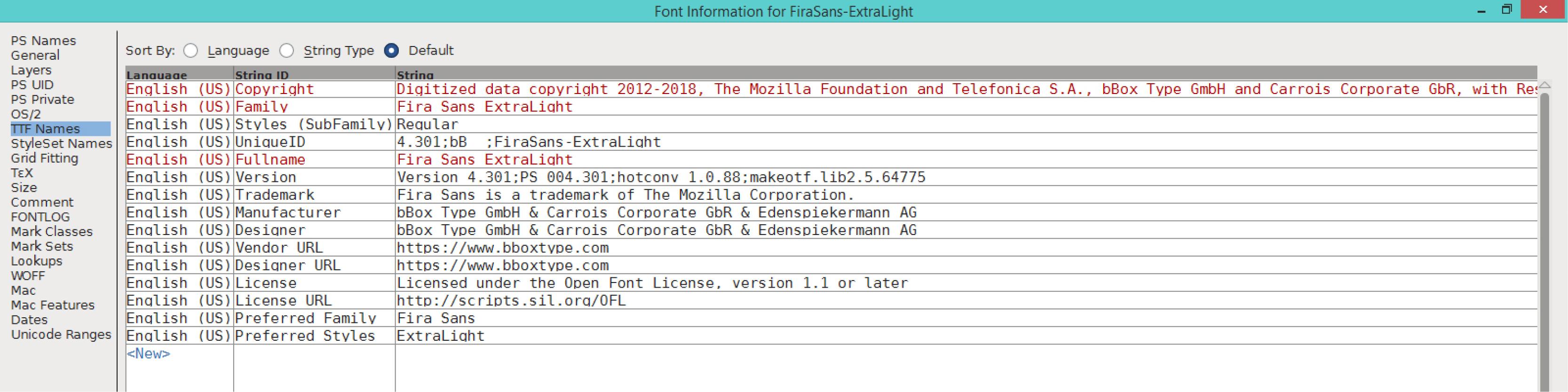 Fira Sans ExtraLight (TTF)