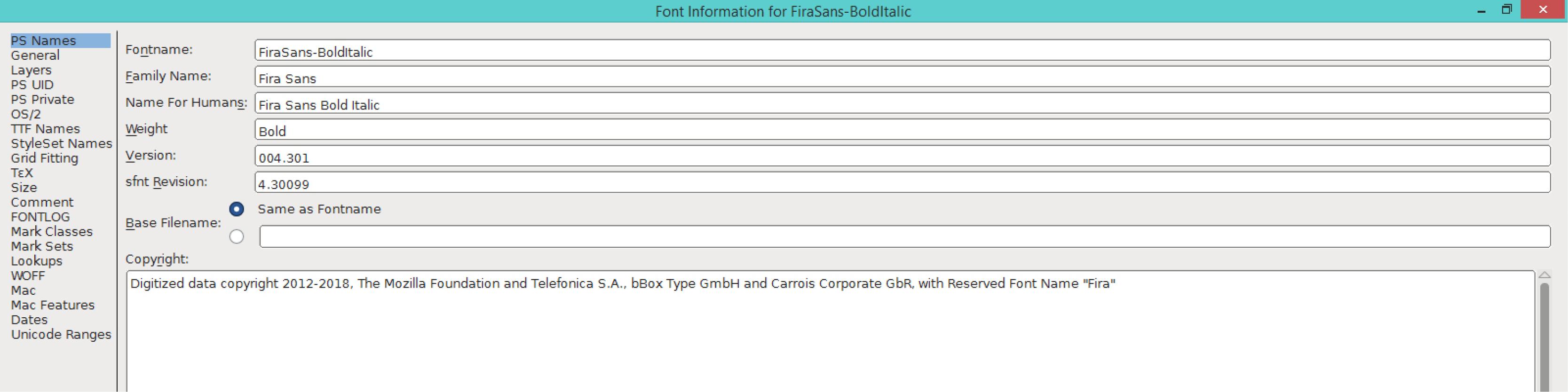 Fira Sans Bold Italic (PS)