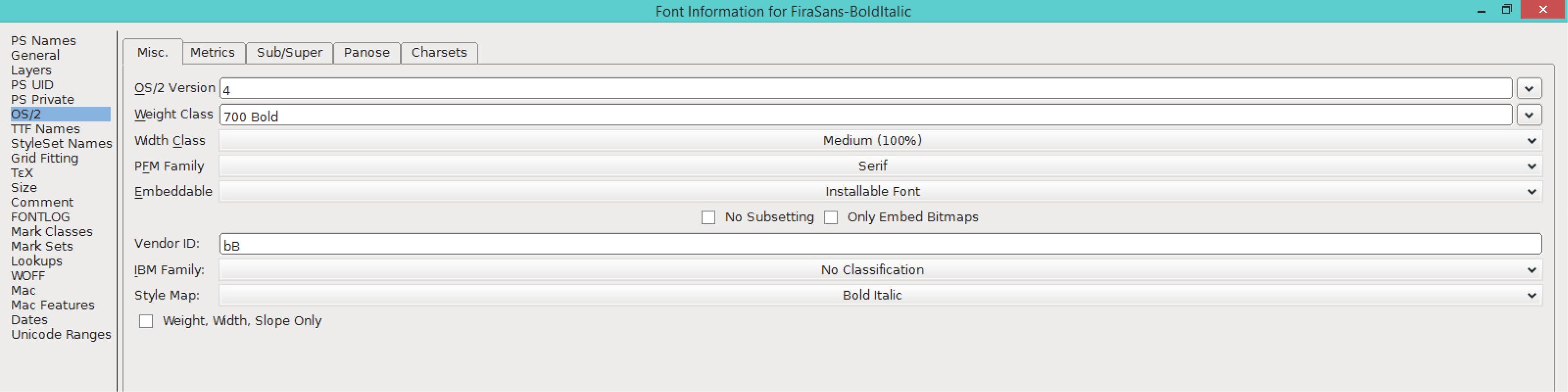Fira Sans Bold Italic (OS/2)