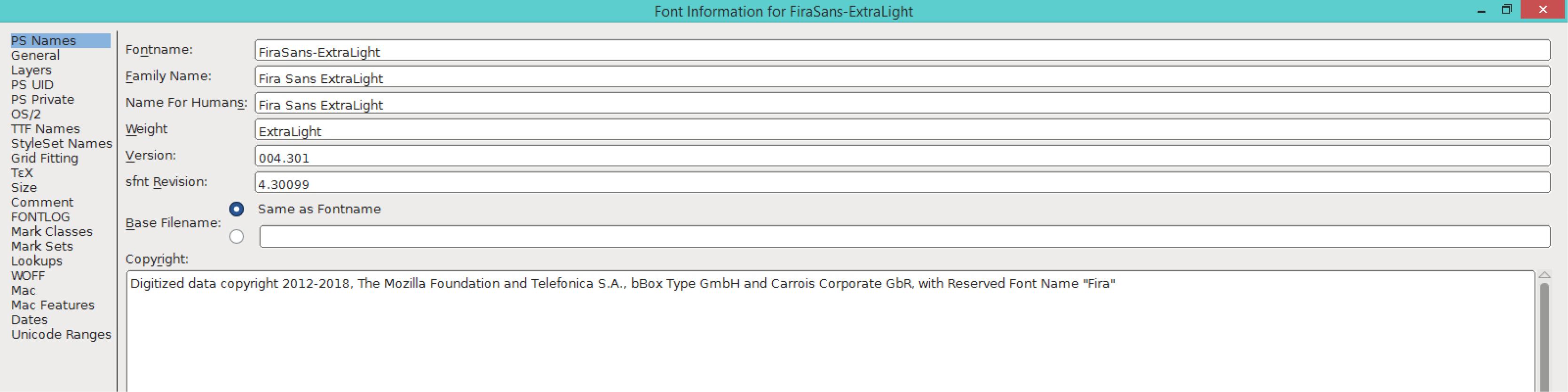 Fira Sans ExtraLight (PS)