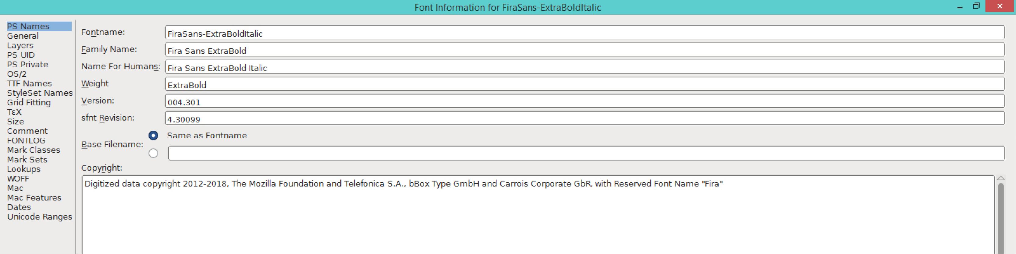 Fira Sans ExtraBold Italic (PS)