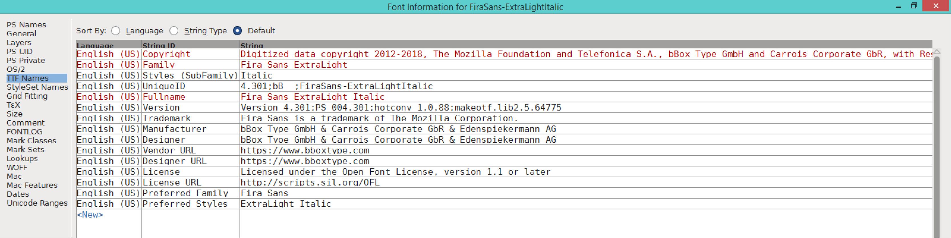 Fira Sans ExtraLight Italic (TTF)