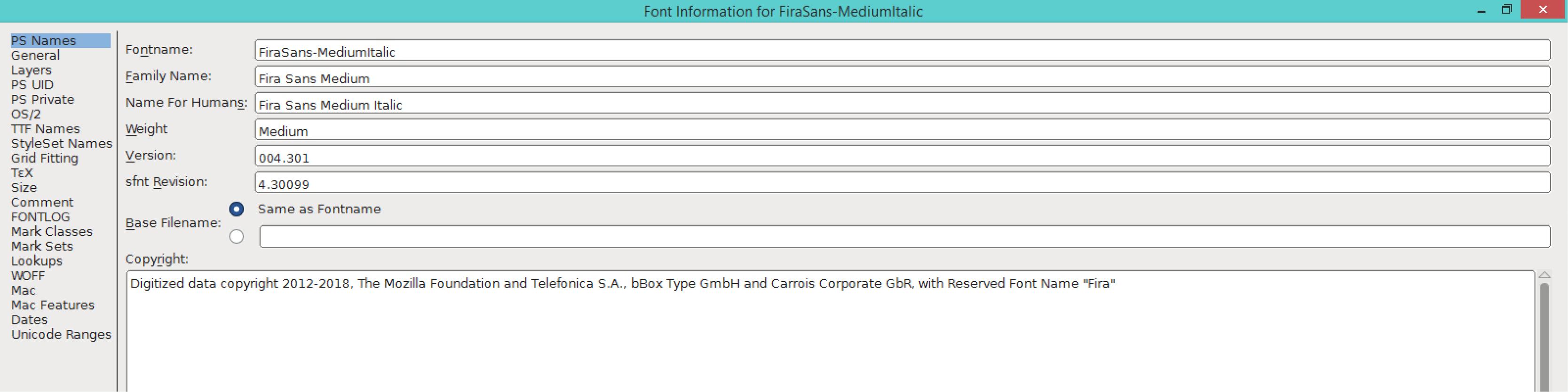 Fira Sans Medium Italic (PS)
