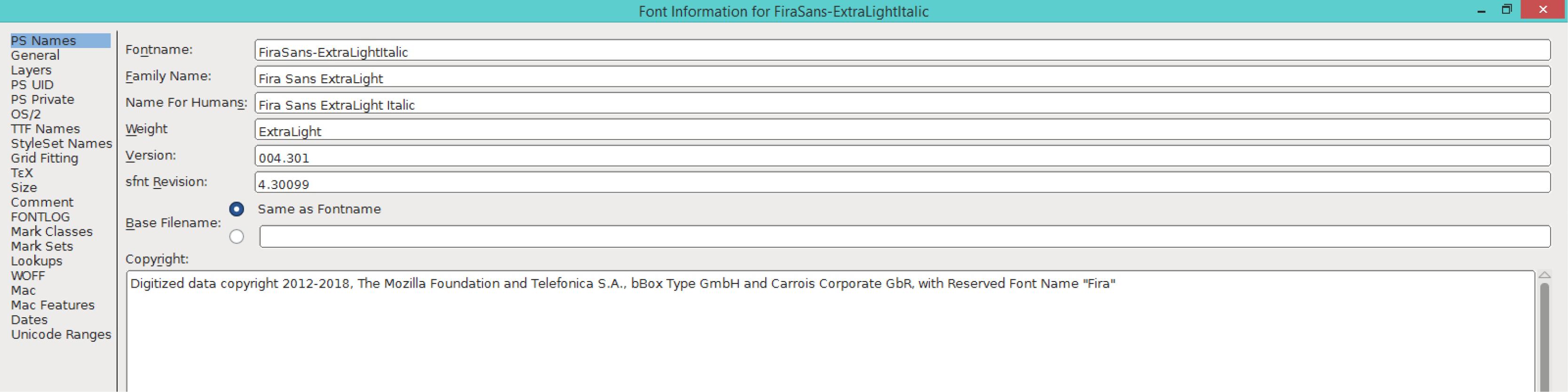 Fira Sans ExtraLight Italic (PS)