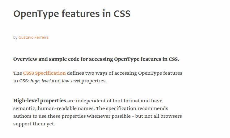 OpenType features in CSS by Gustavo Ferreira