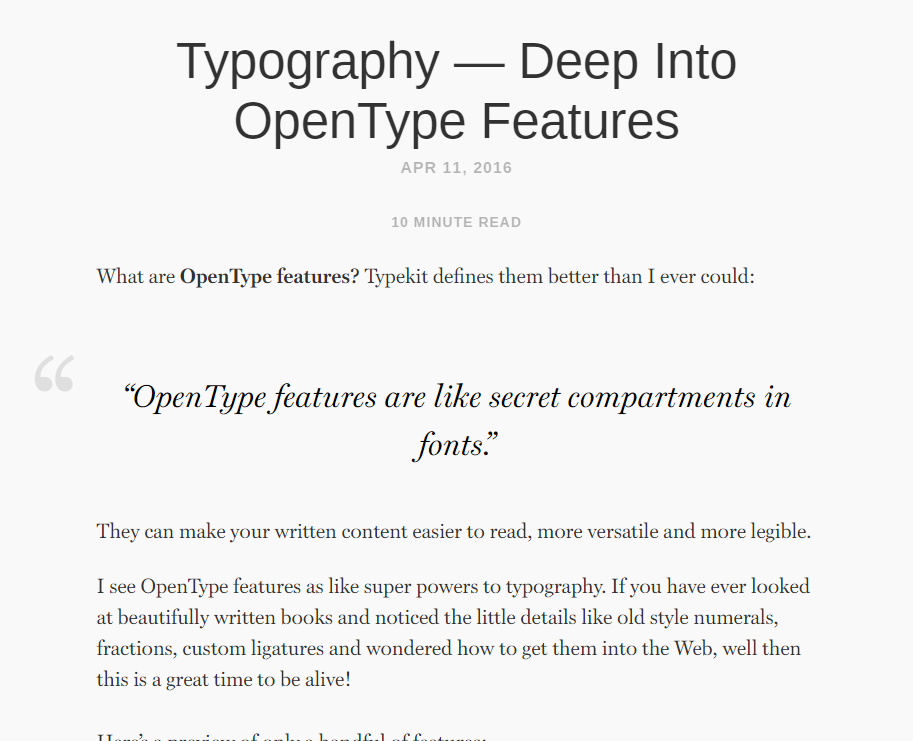 Typography — Deep Into OpenType Features