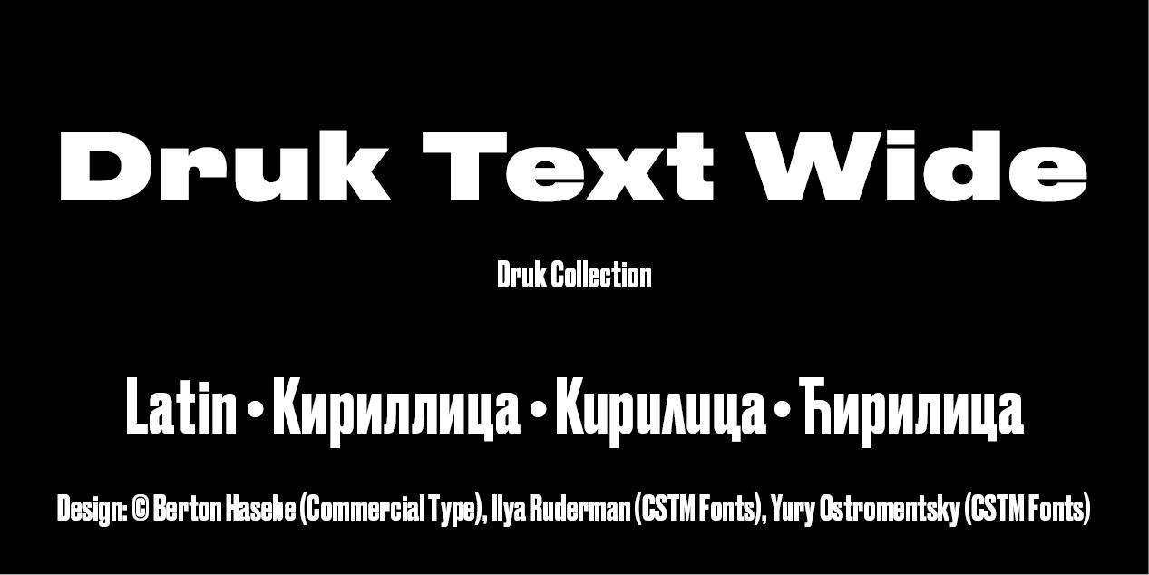 Druk Text Wide by Berton Hasebe, Commercial Type, Ilya Ruderman